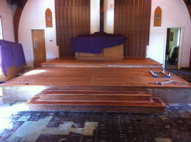St James Church By The Sea - Demo of existing flooring and removal